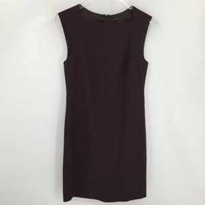 Theory brown wool sheath shift dress square neck 8